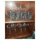 Group Lot of Rock Glasses, Pitcher, Wine Glasses