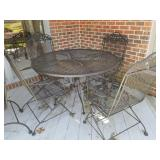 Wrought Iron Outdoor Patio Table, Chairs, Umbrella