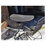 Black Wrought Iron Patio Table, Chairs, Umbrella
