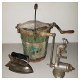 Antique Ice Cream Maker, Grinder, Iron
