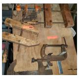 Assortment of Wood & Metal Clamps