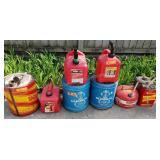 Group of 9 Gasoline & Kerosene Tanks