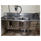 Stainless Steel 3-Bay Dishwashing Sink