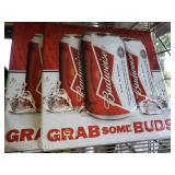 Pair of Budweiser Grab Some Buds Tin Signs