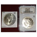 2 ct. 1922 & 1923 Silver Peace Dollars