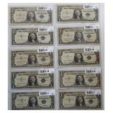 Group of 10 $1 Silver Certificates. Circa 1957
