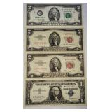 4 ct. $1 and $2 Silver Certificates