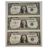 3 ct. $1 Silver Certificates. 1957, 1957-A, 1957-B