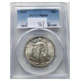 1945 Walking Liberty Silver Coin PCGS MS66