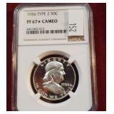 1956 Type 2 Franklin Silver PF67 Star Cameo NGC