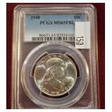 1948 Silver Franklin 50 Cent PCGS MS65 FBL