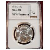 1948-D Silver Franklin 50 Cent Coin PCGS MS65 FBL