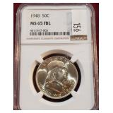 1948 Franklin 50 Cent Silver PCGS MS65 FBL