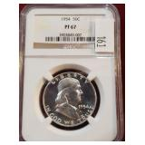 1954 Silver Franklin 50 Cent Coin NGC PF67