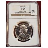 1955 Franklin Silver Coin NGC PF67