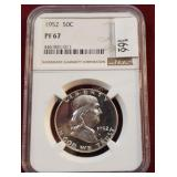 1952 Franklin 50 Cent Coin NGC PF67