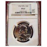 1956 Type 2 Franklin 50 Cent Coin NGC PF67