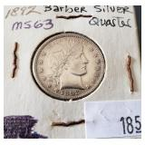 1892 Barber Silver Quarter 25 Cent Coin
