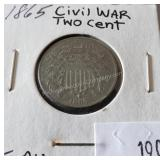 1865 Civil War Two Cent Coin