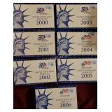 7 ct. US Mint Proof Sets from 2000-2006