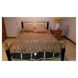 Queen Leopard Brass Bed with Sealy Posturpedic