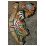 Hand Carved Folk Art Rocking Horse