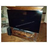 "Panasonic 58"" Flat Screen TV, Sound Bar & Cabinet"