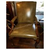 Beautiful Chippendale Style Leather Office Chair