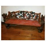 Hand Carved Bear Wooden Mustical Theme  Bench