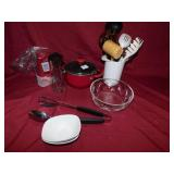 KITCHEN UTENSILS, GLASS BOWL, SMALL POT WITH LID,