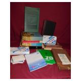 GROUP OF OFFICE SUPPLIES, FILE FOLDERS, TABLETS,