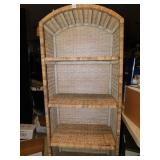 WICKER SHELVING UNIT, APPROX. 5