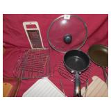 ASSORTED POTS AND PANS, CUTTER, TONGS, ETC.