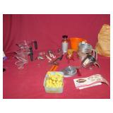 OXO MEASURING CUPS, COOKIE PRESS, CORN HOLDERS,
