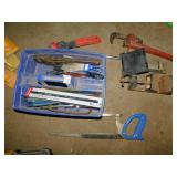 HACK SAW, BLADES, PIPE WRENCHES, METAL CLAMP, ETC