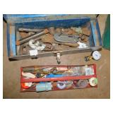 PIPE CUTTERS, TOOL BOX, GAUGE, ETC