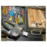 STAPLE GUNS IN METAL FILE BOX, ETC