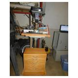 DELTA DRILL PRESS WITH HANDMADE CABINET AT BASE