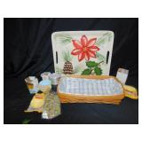 LONGABERGER BASKET, SERVING TRAY, BAKING ITEMS