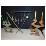 DECORATIVE METAL CANDLE HOLDERS, WIND CHIME