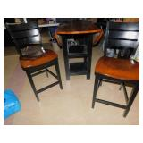 DROP SIDE TABLE AND 2 CHAIR PUB CHAIRS