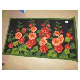 NEW AREA HOOKED RUG, BLACK WITH FLORAL DESIGN,