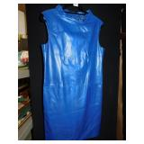 LEATHER DRESS MAKER WORTH 2 ZIPPER POCKETS BLUE