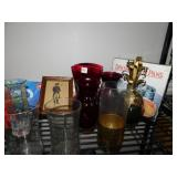 HOLIDAY GLASSES, GOLD BOWL, GLASS PINEAPPLE,