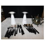 FLATWARE, 2 BATTERY OP LED LIGHTS, TEAPOT,