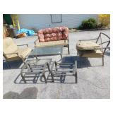PATIO SET, 2 CHAIRS, 2 OTTOMANS, TABLE, LOVESEAT
