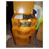 PHILCO RADIO/TURNTABLE W/ STAND W/ 2 SHELVES AND