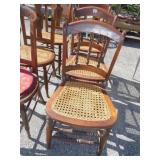 THREE CANED BACK CHAIRS