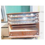 SEWING CABINET 3 THICK GLASS FRONT DRAWERS, 1