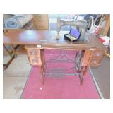 TREADLE SEWING MACHINE CARVED DRAWERS W/